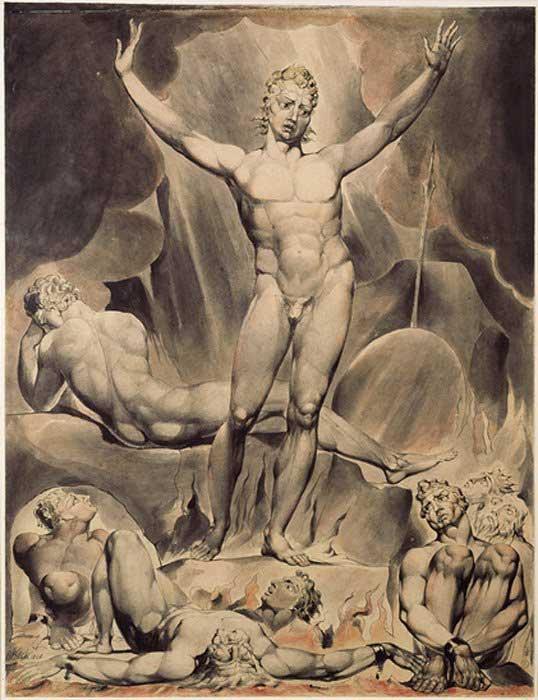 William Blake's illustration of Satan as presented in John Milton's Paradise Lost.