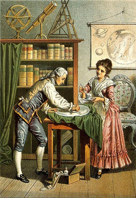 William and Caroline Herschel polishing a telescope mirror. (GreenMeansGo / CC BY-SA 2.0)