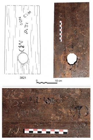 Wine trade brand markings on the Roman wine barrels found in Reims, France. (J.-J. Bigot (top) ; F. Moiret (bottom) / Inrap)