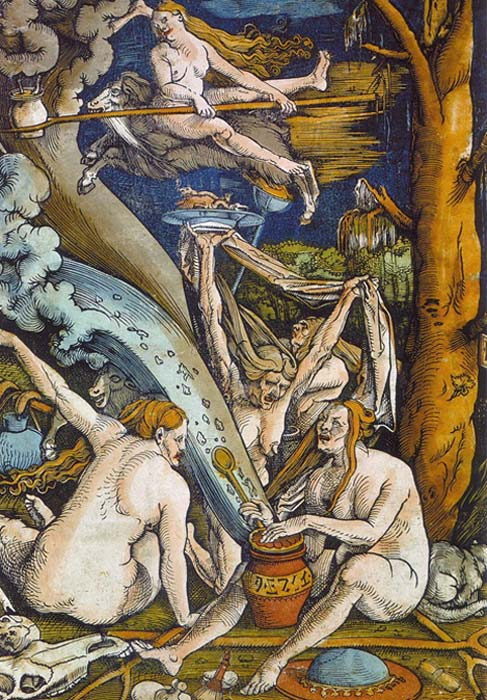 Witches by  Hans Baldung. Woodcut, 1508 (public domain)