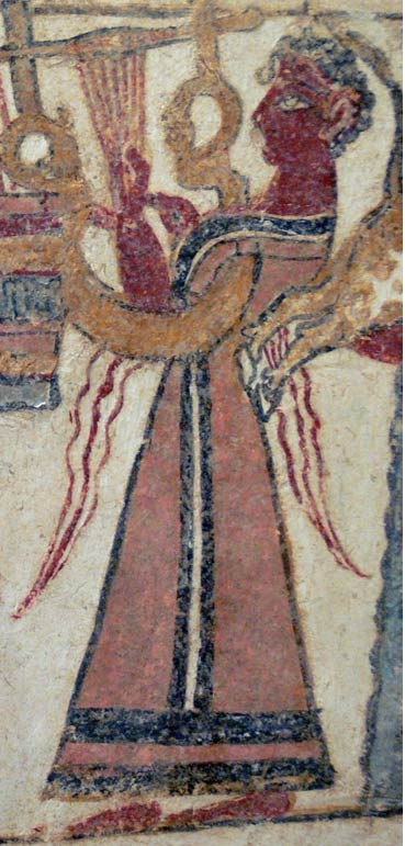 Woman playing a lyra from the sarcophagus of Hagia Triada