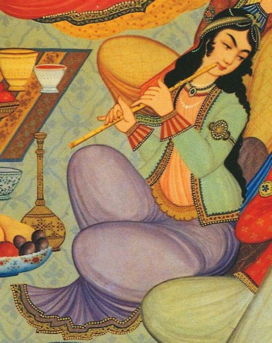 Woman playing the Ney in a painting from the Hasht Behesht Palace in Isfahan, Iran, 1669