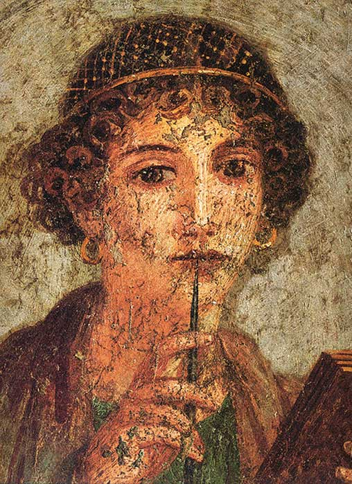 "Woman with wax tablets and stylus (so-called ""Sappho""). (Public Domain)"