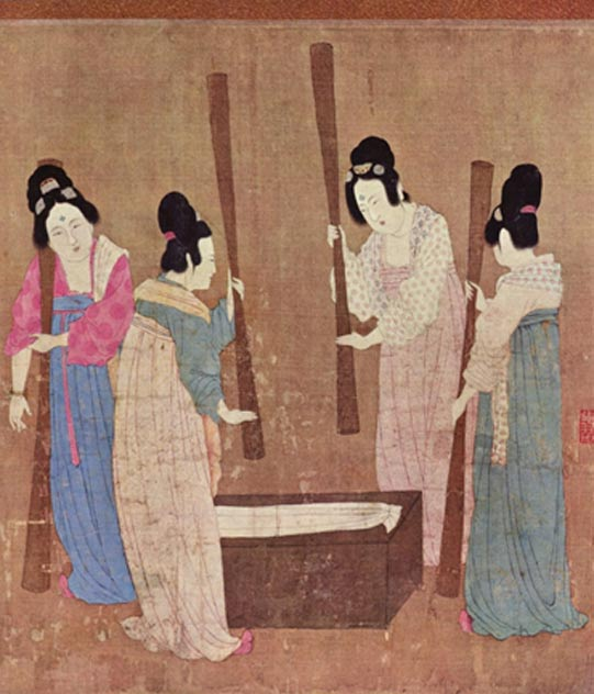 Women preparing silk, painting by Emperor Huizong of Song, early 12th century.