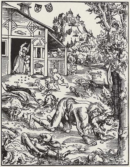 Woodcut by Lucas Cranach the Elder, 1512, of a werewolf savaging a town and carrying off babies.