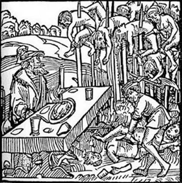 "Woodcut from the title page of a 1499 pamphlet published by Markus Ayrer in Nuremberg. It depicts Vlad III ""the Impaler"" (identified as Dracole wyade = Draculea voivode) dining among the impaled corpses of his victims. (Public Domain)"