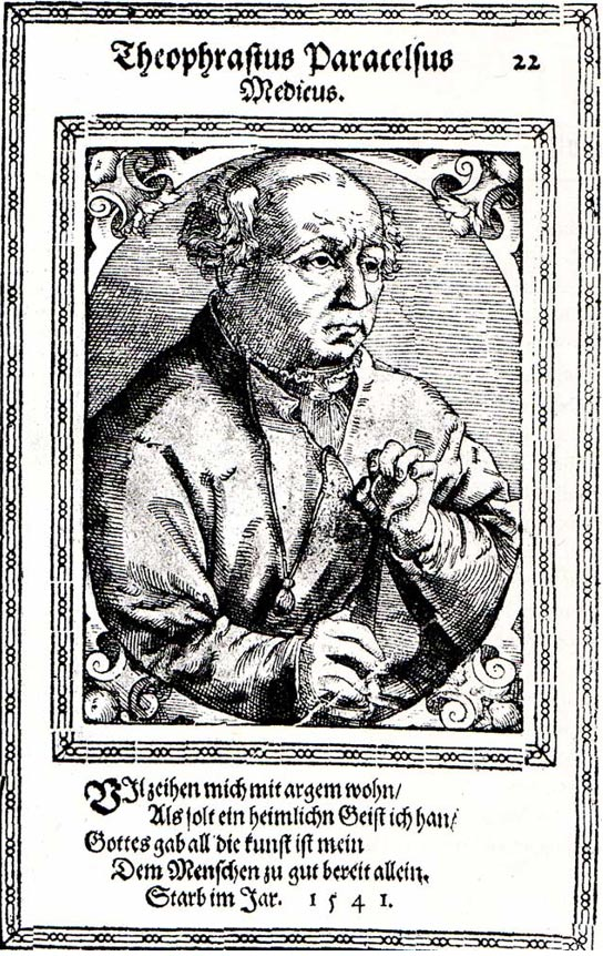 Woodcut of Paracelsus by Tobias Stimmer (1541)