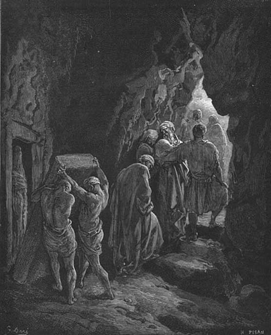 Woodcut by Gustave Doré depicting the burial of Sarah in the cave.