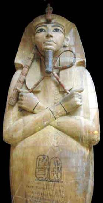 Wooden coffin lid of Rameses II (Usermaatra Setepenra, 1279-1213 BC) of the 19th Dynasty from Deir el Bahari.