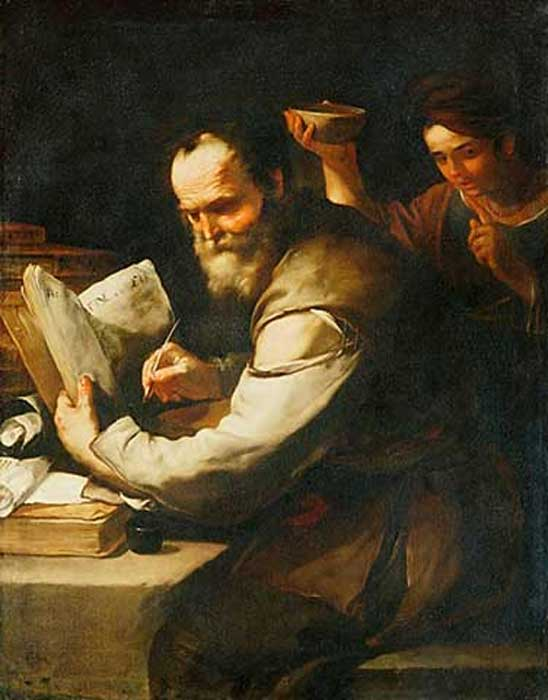 'Xanthippe pours water over Socrates' by Luca Giordano