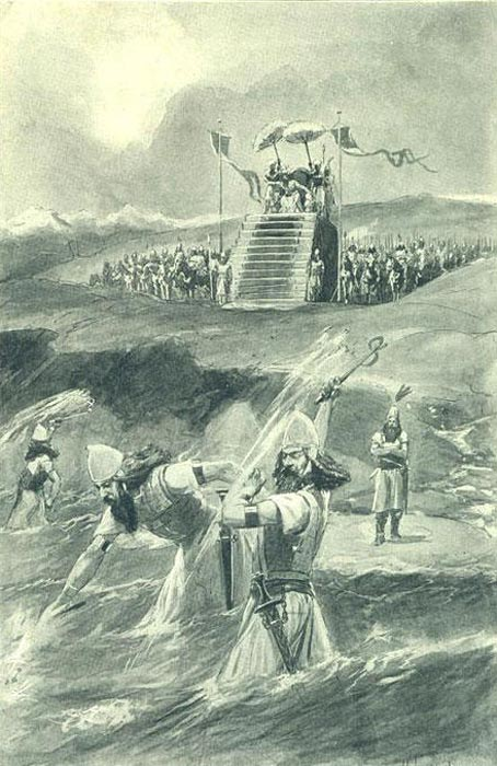 "Xerxes attending the lashing and ""chaining"" of the Hellespont (Illustration from 1909)."