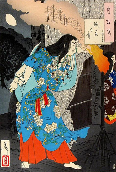 Yamato Takeru dressed as a maidservant, preparing to kill the Kumaso leaders. Woodblock print on paper. Yoshitoshi, 1886.