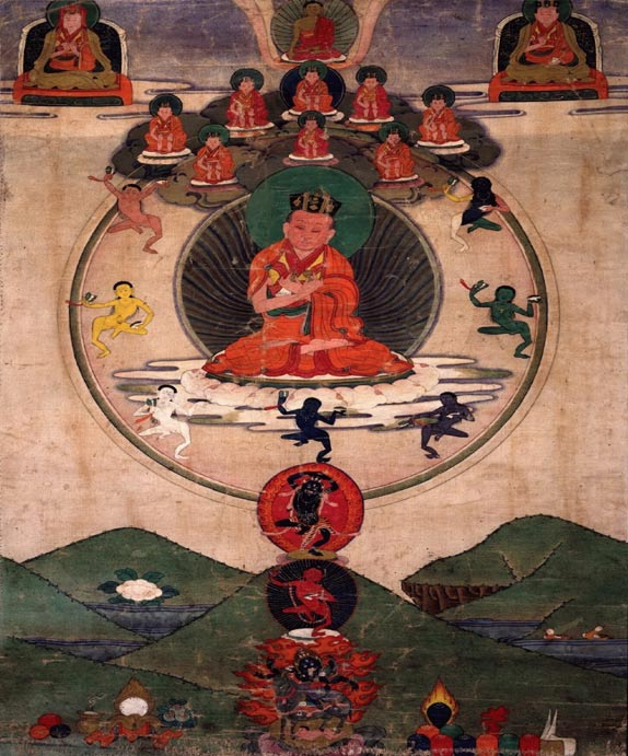 Yoga spread possibly from the Indus Valley to many parts of India, Tibet, Nepal and eventually to the entire world in more modern times. Here, a Tibetan painting of the 19th century shows Karmapa Mikyo Dorje in Four Sessions meditation.