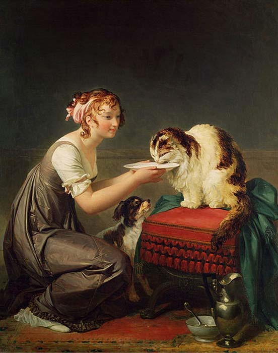 Young Girl Giving Milk to Her Cat by Marguerite Gerard