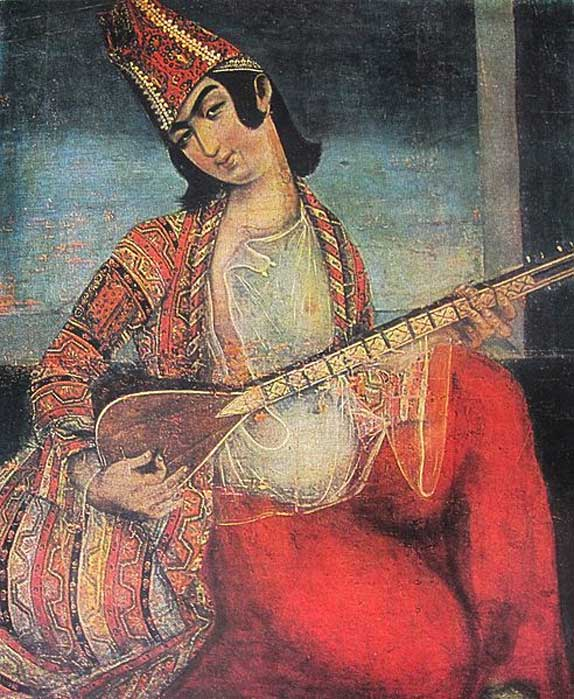 Young man playing the saaz. (Public Domain)