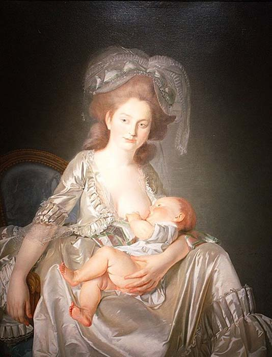 'Young woman breastfeeding her child' (1777) by Louis-Roland Trinquesse. (Public Domain)