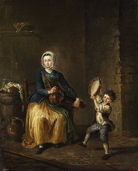 Young woman with a hurdy gurdy and a child with tambourine, 18th century.