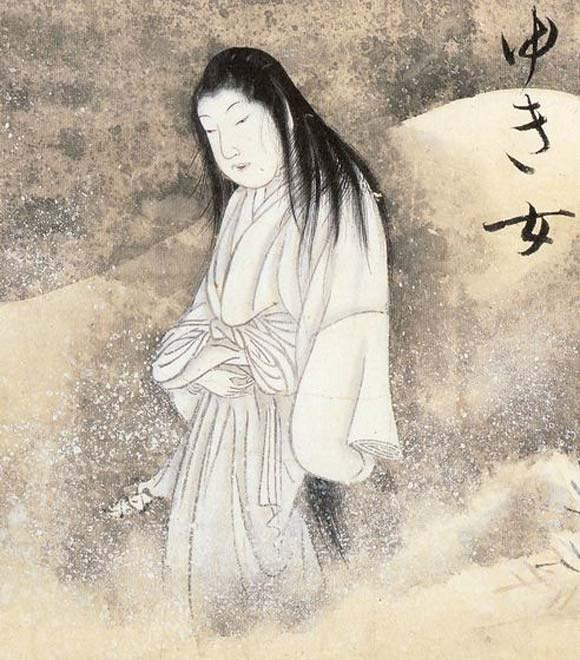 1737 depiction of Yuki-onna (the snow woman) from the Hyakkai-Zukan by Sawaki Suushi.