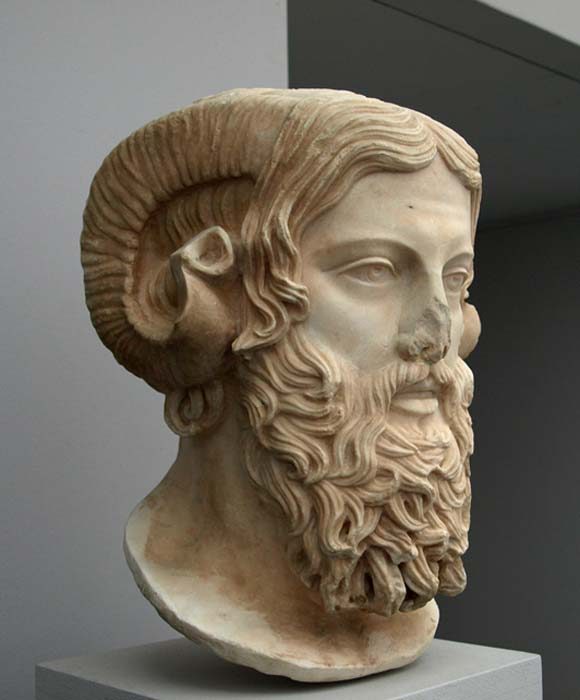 Zeus Ammon. Roman copy of a Greek original from the late 5th century BC. The Greeks of the lower Nile Delta and Cyrenaica combined features of supreme god Zeus with features of the Egyptian god Amun-Ra