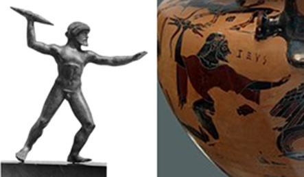 Figure 3. Left: Zeus is depicted with a rod-like thunderbolt. Right: Zeus holds a thunderbolt with ends splayed into three prongs.