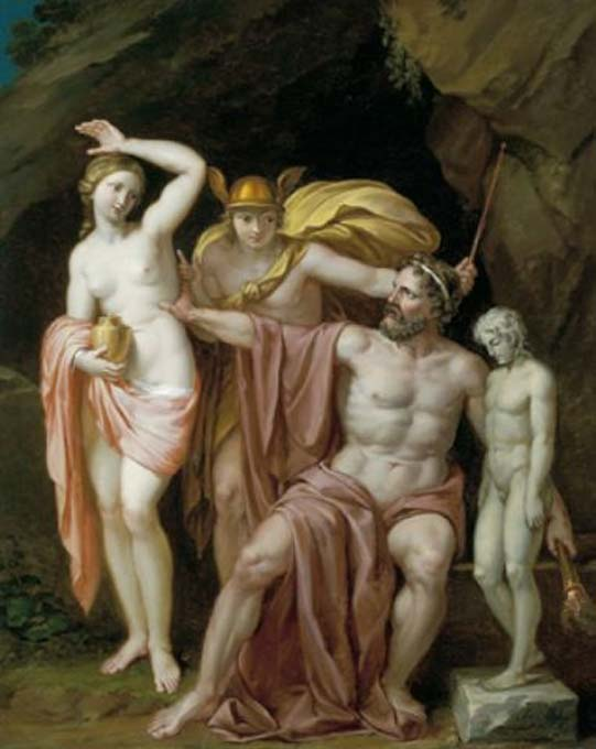 Zeus readies Pandora with Hermes in attendance, a painting by Josef Abel. (Public Domain)