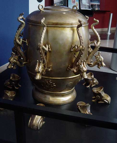 Zhang Heng's seismometer is a a bronze, urn-shaped device called houfeng didong yi (instrument for measuring the seasonal winds and the movements of Earth), which is able to detect the direction of an earthquake hundreds of miles away.