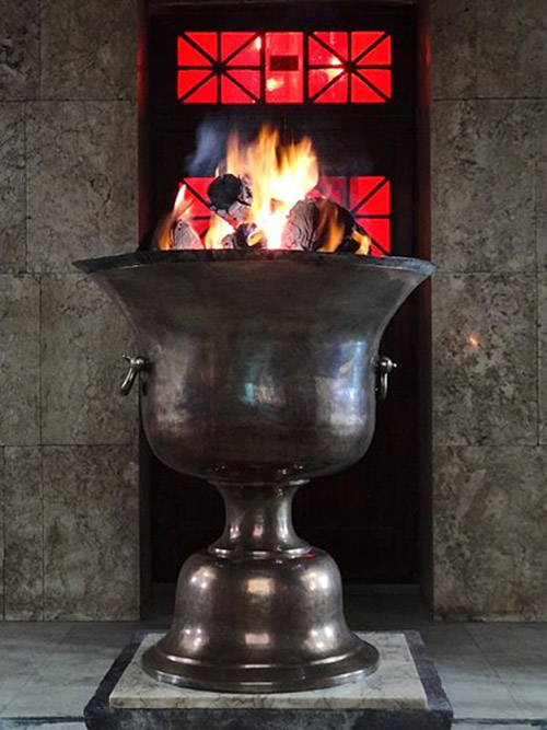 Zoroastrian Eternal Flame at the Fire Temple in Yazd, Central Iran.