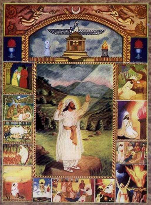 Zoroastrian devotional art depicts the religion's founder with white clothing and a long beard.