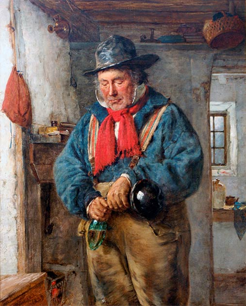 A man with a red scarf in a cottage pours poteen into a flask. (Erskine Nicol / Public domain)