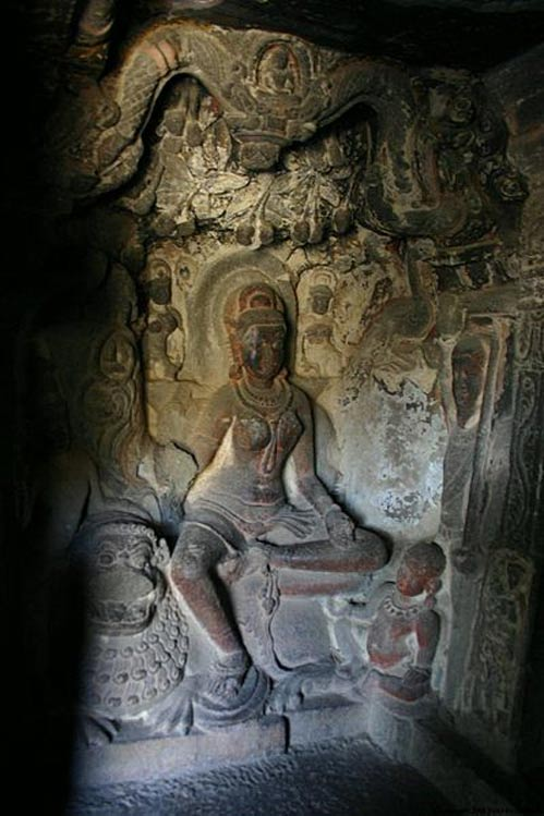 Carving of a yakshini at a Jain Cave at Ellora.