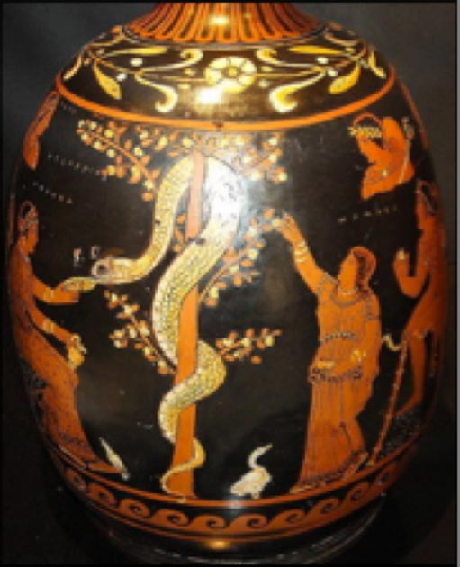 On the above vase from about 430 BC, the Hesperid to the left feeds the serpent as the other tends to the apple tree. The Book of Genesis doesn't say what kind of fruit tree it was. It's from the Greek tradition we get the idea that Eve ate an apple. (Public domain)