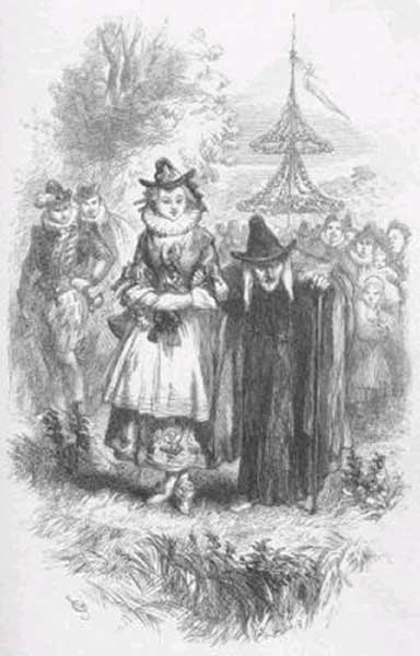 Two of the accused witches, Anne Whittle (Chattox) and her daughter Anne Redferne. Illustration from William Harrison Ainsworth's 1849 novel 'The Lancashire Witches'.