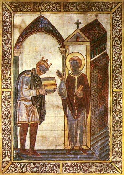 Æthelstan presenting a book to St Cuthbert, the earliest surviving portrait of an English king. (Public Domain)