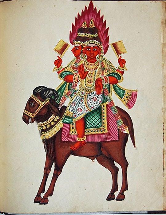 Agni, the fire god.