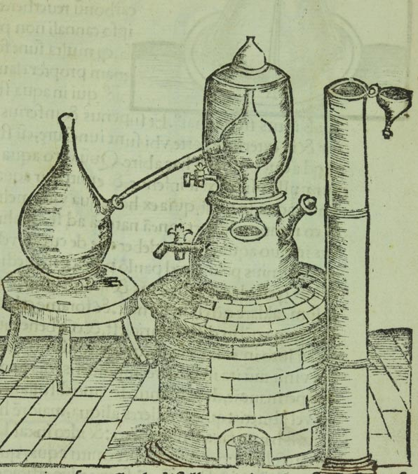 An alchemical balneum Mariae, or Maria's bath (named for the inventor, alchemist Mary the Jewess), essentially a double boiler. 1528.