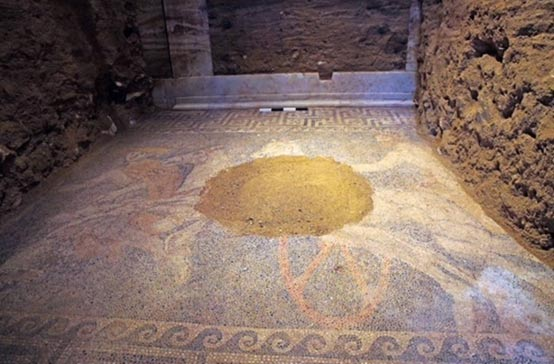 The mosaic covers the entire floor space in the second chamber of the Amphipolis tomb