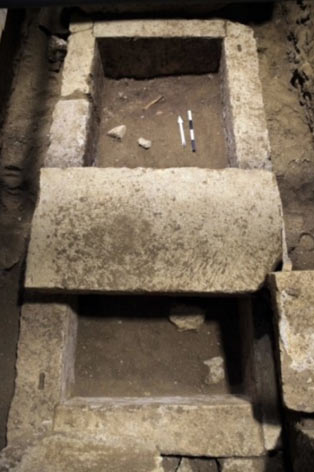 The limestone sarcophagus found in a secret vault beneath the third chamber - Amphipolis tomb