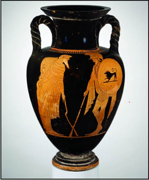 Attic red-figure amphora attributed to the Matsch Painter,c. 480 BC, showing a departure scene. An old man (left) leans on a crooked staff or crutch as he bids the warrior farewell. (Photograph courtesy of The Metropolitan Museum of Art, New York, 56.171.39 / Antiquity Publishers Ltd)