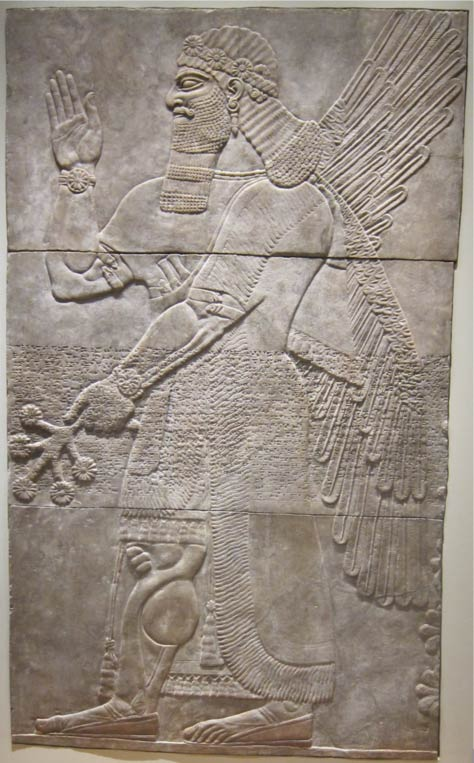 A figure in an ancient Assyrian relief summons a protective spirit. Perhaps soldiers thought to be afflicted by ghosts of people they killed in battle summoned such spirits.