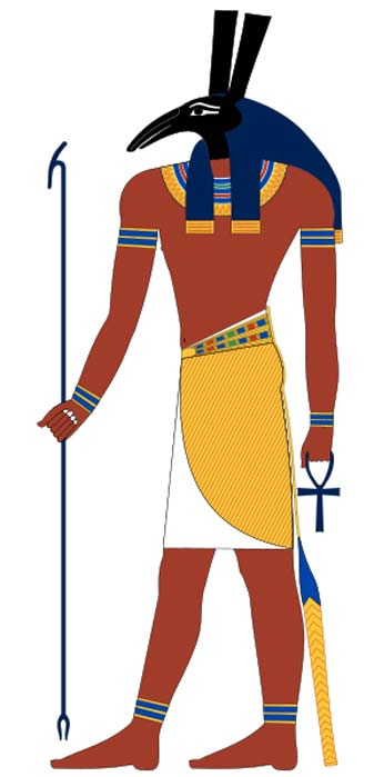 Set, an ancient Egyptian deity. Based on New Kingdom tomb paintings.