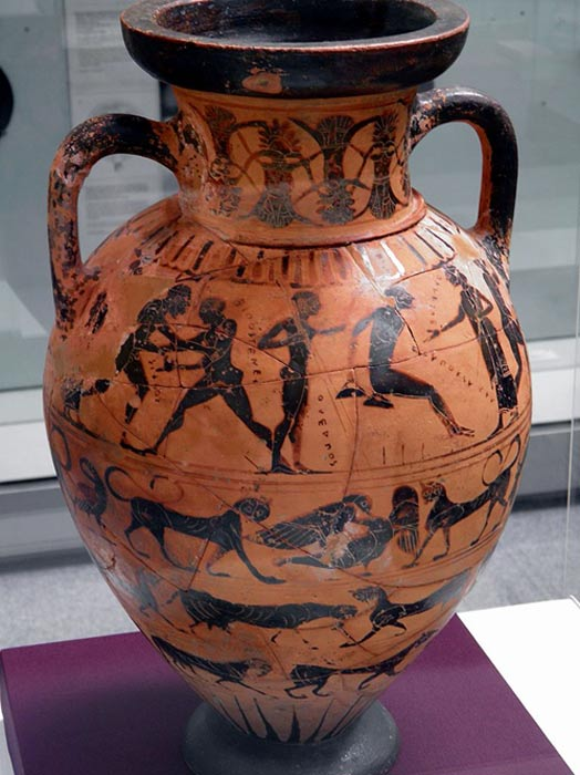 This ancient Greek amphora shows the long jump and other contest at the Olympics similar to the ones found in the tomb of the Athlete of Taranto.