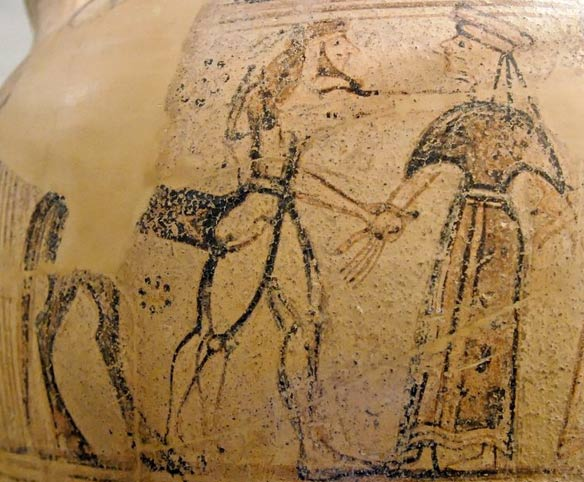 On a vase from about 600 BC, Ham/Chiron grasps the wrist of Naamah/Chariklo, a sign in ancient Greek art that she is to be his bride.
