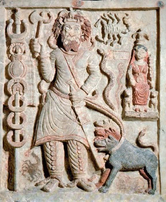 An ancient Parthian relief carving depicting Nergal, the ancient Mesopotamian god of death and plague. (Public Domain)