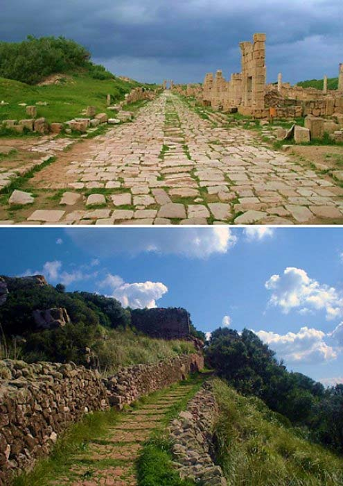 Two examples of ancient Roman roads: one at Leptis Magna, Libya (top