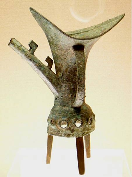 18th century BC jue, (Chinese bronze tripod goblet used to serve wine for ritual purposes)