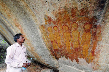 Ancient rock paintings depicting UFOs - Charama, India