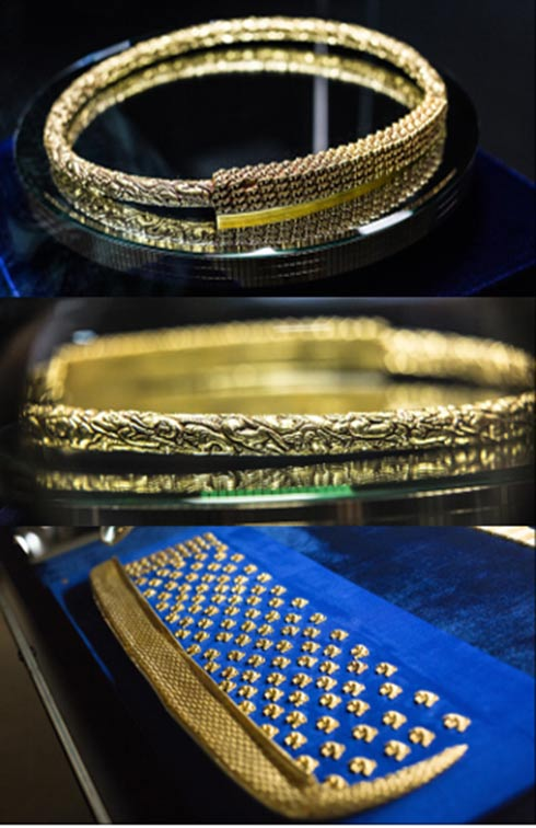 The ancient ruler was buried with a heavy necklace made of pure gold and gold quiver with fish scale decoration.