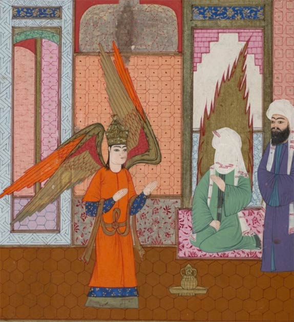 The angel Jibrîl stands before Muhammad and instructs him on the call to prayer. (Public Domain)