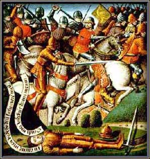 15th century anonymous painting of the Battle of Roncevaux Pass.