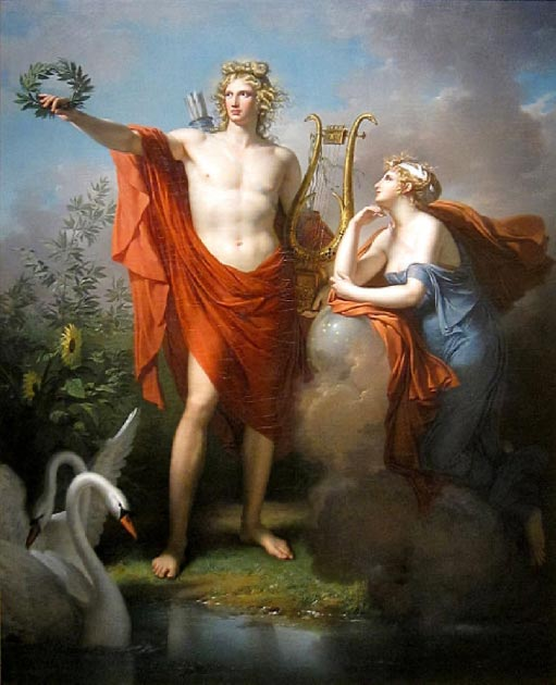 Apollo, God of Light, Eloquence, Poetry and the Fine Arts with Urania (Charles Meynier - Public domain)